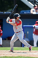Brooklyn Cyclones outfielder Tucker Tharp (5) at bat during a game against the Batavia Muckdogs on August 10, 2014 at Dwyer Stadium in Batavia, New York.  Brooklyn defeated Batavia 5-2.  (Mike Janes/Four Seam Images)