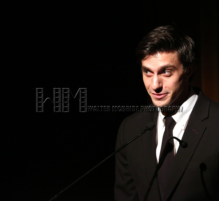 Gideon Glick on stage at the Vineyard Theatre 2017 Gala at the Edison Ballroom on March 14, 2017 in New York City.