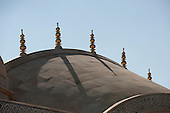 Jaipur, India. Detail of stone slab roof with multiple pinnacles formed of balls and discs in the Amber (Amer) Fort.