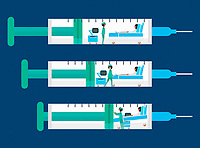 Sequence with hospital ward being squeezed inside of syringe
