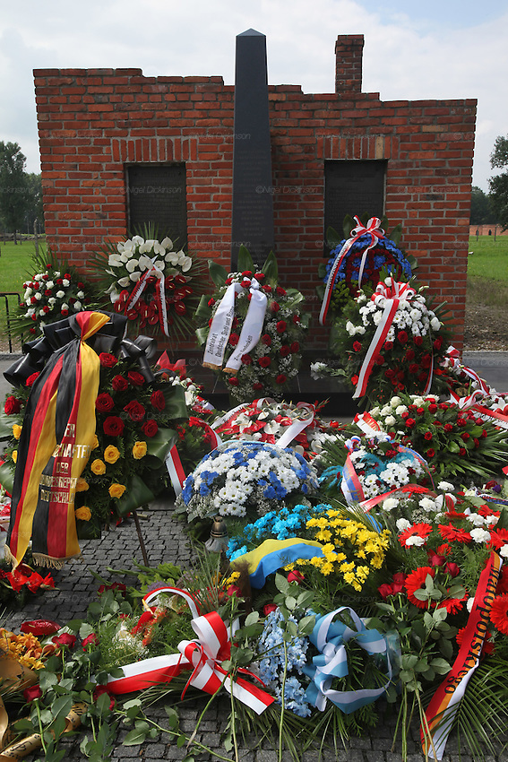 "Laying wreaths at the 67th Anniversary. Memorial to murdered Roma and Sinti in the concentration camp at the so-called Zigeunerlager, the concentration camp hut for Roma and Sinti. Auschwitz II Birkenau, Oswiecim Poland ..Roma Holocaust ""Porrajmos"", the Roma word means literally ""the devouring"", where it is estimated that between 500 thousand and one and a half million Roma were exterminated across Germany, Poland, ex-Yugoslavia and Czechoslovakia during the 1930s and 1940s. The Roma were the first race to be subjected to experimentation by the Nazis, as part of Joseph Goebbels' 'Final Solution'."