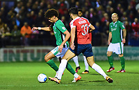 Lincoln City's Lee Angol vies for possession with York City's Hamza Bencherif<br /> <br /> Photographer Andrew Vaughan/CameraSport<br /> <br /> The Buildbase FA Trophy Semi-Final First Leg - York City v Lincoln City - Tuesday 14th March 2017 - Bootham Crescent - York<br />  <br /> World Copyright &copy; 2017 CameraSport. All rights reserved. 43 Linden Ave. Countesthorpe. Leicester. England. LE8 5PG - Tel: +44 (0) 116 277 4147 - admin@camerasport.com - www.camerasport.com