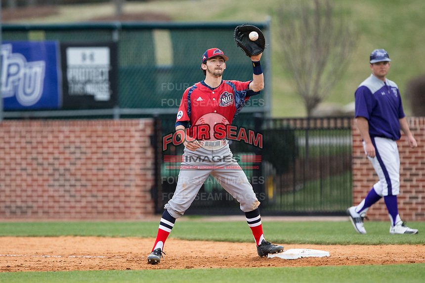 NJIT Highlanders first baseman Michael Anastasia (9) waits for a throw against the High Point Panthers during game two of a double-header at Williard Stadium on February 18, 2017 in High Point, North Carolina.  The Highlanders defeated the Panthers 4-2.  (Brian Westerholt/Four Seam Images)