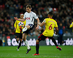 Jan Vertonghen of Tottenham slips the ball past Adrian Mariappa of Watford during the premier league match at Wembley Stadium, London. Picture date 30th April 2018. Picture credit should read: David Klein/Sportimage