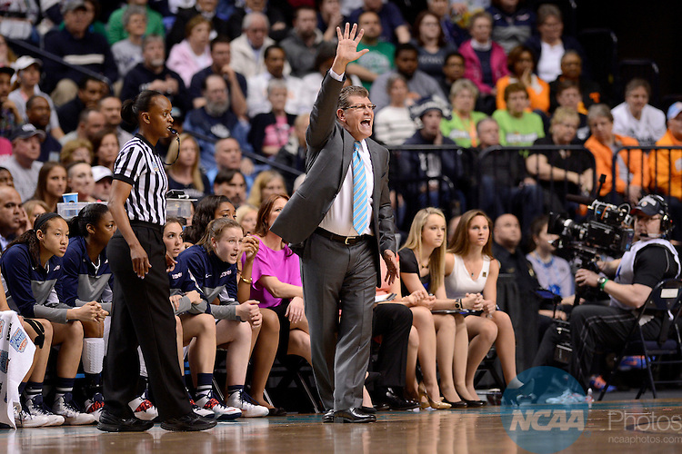 08 APR 2014:  Head Coach Geno Auriemma of the University of Connecticut calls out a play against Notre Dame University during the Division I Women's Basketball Championship held at Bridgestone Arena in Nashville, TN.  Connecticut defeated Notre Dame 78-63 for the national title.  Jamie Schwaberow/NCAA Photos
