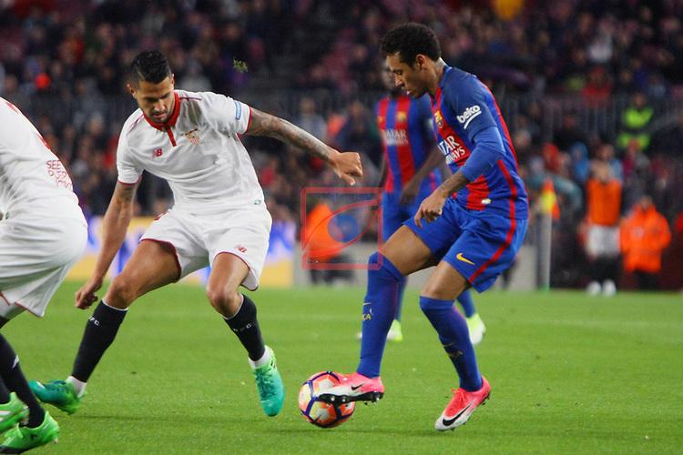 League Santander 2016/2017. Game: 30.<br /> FC Barcelona vs Sevilla FC: 3-0.<br /> Neymar Jr. vs Vitolo.
