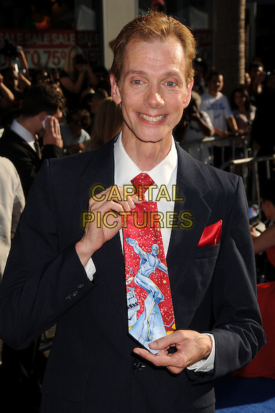 "Doug Jones.""Captain America: The First Avenger"" Los Angeles Premiere held at the El Capitan Theatre, Hollywood, California, USA..July 19th, 2011.half length red blue tie fantastic four silver surfer print black suit jacket white shirt.CAP/ADM/BP.©Byron Purvis/AdMedia/Capital Pictures."