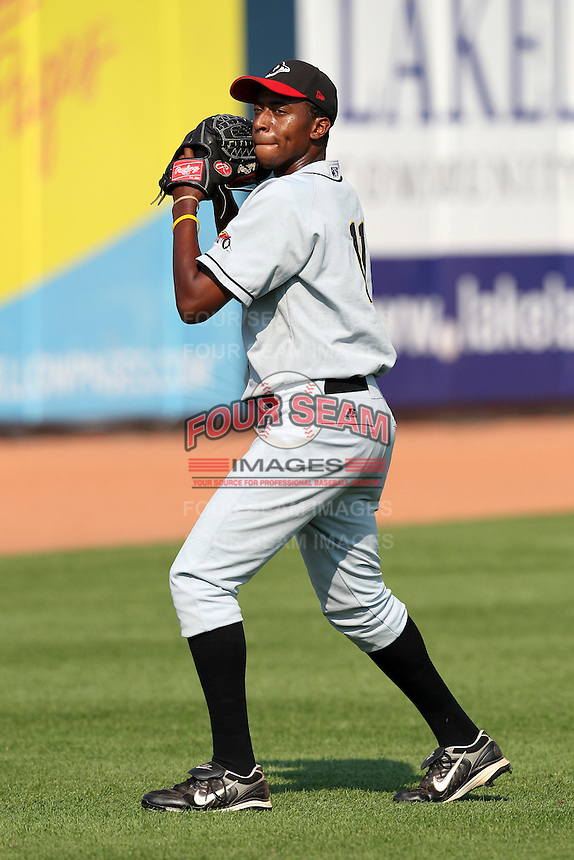 Bowling Green Hot Rods pitcher Tyree Hayes (11) during a game vs. the Lake County Captains at Classic Park in Eastlake, Ohio;  August 20, 2010.   Lake County defeated Bowling Green 5-3.  Photo By Mike Janes/Four Seam Images