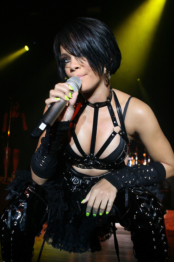 NEW YORK - OCTOBER 11:  Rihana performs at concert at the Nokia Theater on October 11,2007 in New York City New York. (Photo by Soul Brother/FilmMagic)