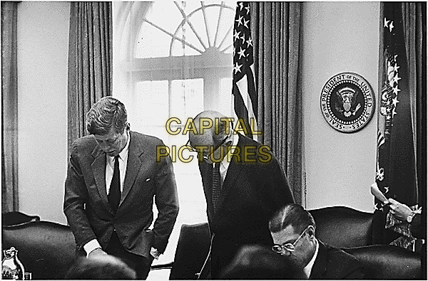 Meeting of the Executive Committee of the National Security Council to discuss the Cuban Missile Crisis in the Cabinet Room at the White House in Washington, DC on October 29, 1962.  Left to right: United States President John F. Kennedy,  US Secretary of State Dean Rusk, US Secretary of Defense Robert S. McNamara. <br /> Credit: White House via CNP /MPI/Capital Pictures