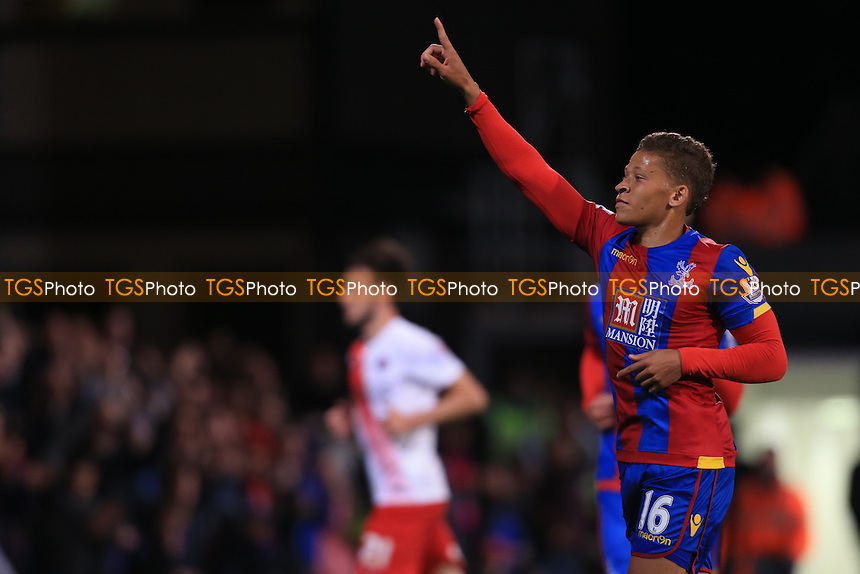 Dwight Gayle of Crystal Palace celebrates scoring his second penalty of the night during Crystal Palace vs Charlton Athletic at Selhurst Park