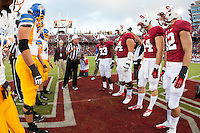 STANFORD, CA -- August 31, 2012: Stanford captains on the field for the coin toss before the Stanford vs San Jose State University game Friday night at Stanford Stadium.<br /> <br /> The Cardinal defeated the Spartans 20-17.