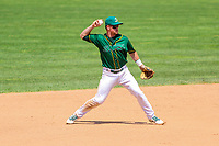 Beloit Snappers shortstop Trace Loehr (3) throws to first base during a Midwest League game against the Quad Cities River Bandits on June 18, 2017 at Pohlman Field in Beloit, Wisconsin.  Quad Cities defeated Beloit 5-3. (Brad Krause/Four Seam Images)