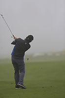 Fabrizio Zanotti (PAR) plays his 2nd shot in the mist on the 17th hole during Sunday's fog delayed Round 3 of the 2017 Omega European Masters held at Golf Club Crans-Sur-Sierre, Crans Montana, Switzerland. 10th September 2017.<br /> Picture: Eoin Clarke | Golffile<br /> <br /> <br /> All photos usage must carry mandatory copyright credit (&copy; Golffile | Eoin Clarke)