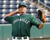 April 2, 2008: Catcher Will Vasquez (10) of the Greenville Drive, Class A affiliate of the Boston Red Sox, during Media Day at Fluor Field at the West End in Greenville, S.C. Photo by:  Tom Priddy/Four Seam Images
