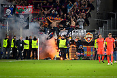 31st October 2017, St Jakob-Park, Basel, Switzerland; UEFA Champions League, FC Basel versus CSKA Moscow; A flare lands on the pitch thrown by CSKA Moscow fans after the match