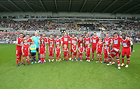 Pictured: Team Danny Dyer. Sunday, 01 June 2014<br /> Re: Celebrities v Celebrities football game organised by Sellebrity Scoccer, in aid of Swansea City Community Trust, at the Liberty Stadium, south Wales.
