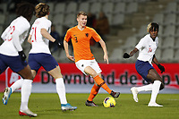 19th November 2019, Stadion De Vijverberg, Doetinchem, Netherlands; U-21 International football freindly, Netherlands versus England; Ebere Eze and  Conor Gallagher of England U21 put pressure on Perr Schuurs of the Netherlands U21