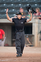 Home plate umpire Matt Herrera calls time during a Pioneer League game between the Missoula Osprey and the Orem Owlz at Ogren Park Allegiance Field on August 19, 2018 in Missoula, Montana. The Missoula Osprey defeated the Orem Owlz by a score of 8-0. (Zachary Lucy/Four Seam Images)