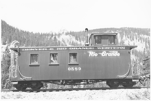 Caboose #0589.<br /> D&amp;RGW  Monarch, CO  Taken by Maxwell, John W. - 5/21/1950