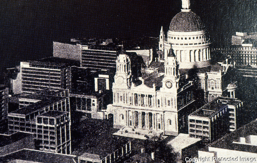 London: Model, St. Paul's and The-Then-Now Paternoster Square from A VISION OF BRITAIN, p. 69.  Reference only.
