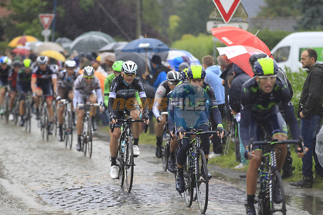 Movistar Team riders including Alejandro Valverde (ESP)tackle the1st cobbled sector 9 from Gruson to Crossroads de l'Arbe during Stage 5 of the 2014 Tour de France running 155.5km from Ypres to Arenberg. 9th July 2014.<br /> Picture: Eoin Clarke www.newsfile.ie