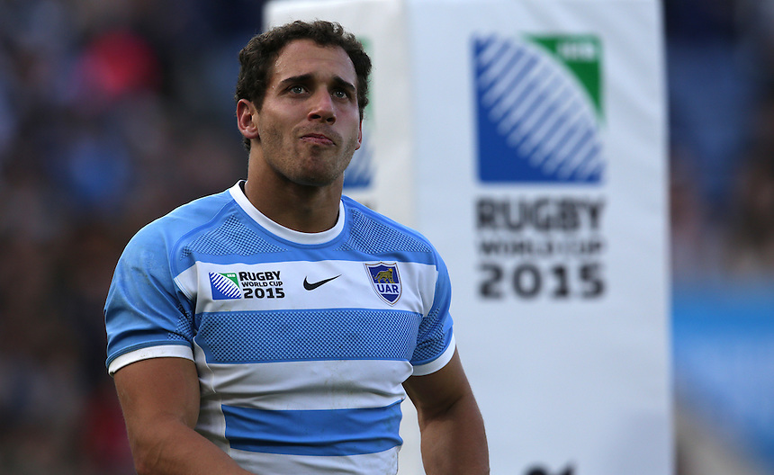 Argentina's Joaquin Tuculet<br /> <br /> Photographer Stephen White/CameraSport<br /> <br /> Rugby Union - 2015 Rugby World Cup Pool C - Argentina v Tonga - Sunday 4th October 2015 - King Power Stadium - Leicester <br /> <br /> &copy; CameraSport - 43 Linden Ave. Countesthorpe. Leicester. England. LE8 5PG - Tel: +44 (0) 116 277 4147 - admin@camerasport.com - www.camerasport.com