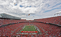 The U.S. Army Golden Knights parachute team delivered the game ball to Ohio Stadium before Saturday's NCAA Division I football game between the Army Black Knights and the Ohio State Buckeyes in Columbus on September 16, 2017. [Barbara J. Perenic/Dispatch]