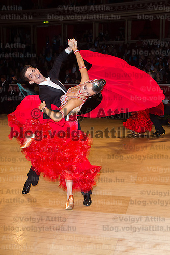 Craig Shaw and Evgeniya Sutyaginskaya from Great Britain perform their dance during the Professional Ballroom competition of the International Championships held in Royal Albert Hall, London, United Kingdom. Thursday, 13. October 2011. ATTILA VOLGYI
