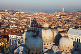 ITALY, Venice. A view of Venice and the domes of St. Mark's Basilica from St. Mark's Campanile, the bell tower at St. Mark's Square.