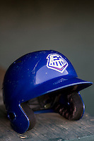 Round Rock Express helmet before the Pacific Coast League baseball game on July 9, 2013 at the Dell Diamond in Round Rock, Texas. (Andrew Woolley/Four Seam Images)