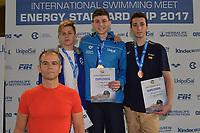 CIAVARELLA Giulio ITALY Gold Meda <br /> PAVLOV Egor ENERGY STANDARD Silver Medal <br /> SASTRE OCHOA DE EGUILOR SPAIN Bronze Medal <br /> Youth Boys' 200m Backstroke <br /> Lignano Sabbiadoro 06-05-2017 Ge.Tur Complex <br /> Energy Standard Cup 2017 Nuoto<br /> Photo Andrea Staccioli/Deepbluemedia/Insidefoto