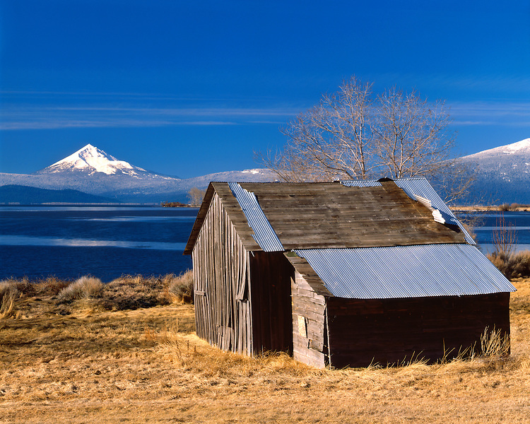 Barn at Upper Klamath Lake below Mt. McLoughlin; Winema National Forest, OR