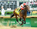 LOUISVILLE, KY - MAY 04: Backyard Heaven #4, ridden by Irad Ortiz, Jr., wins the Alysheba Stakes during an undercard race on Kentucky Oaks Day at Churchill Downs on May 4, 2018 in Louisville, Kentucky. (Photo by Jessica Morgan/Eclipse Sportswire/Getty Images)
