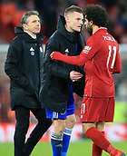 30th January 2019, Anfield, Liverpool, England; EPL Premier League football, Liverpool versus Leicester City; Jamie Vardy of Leicester City shakes hands with Mohamed Salah of Liverpool after the final whistle