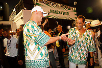 SAO PAULO, SP, 18 DE FEVEREIRO DE 2012 - CARNAVAL 2012 - SP - CONCENTRACAO MANCHA VERDE -O ex goleiro Marco e o esx jogador Edmundo da escola de samba Mancha Verde momentos antes do desfile no grupo especial do Carnaval 2012 de Sao Paulo, no Sambodromo do Anhembi na regiao norte da capital paulista, na madrugada deste sabado, 18. (FOTO: ALE VIANNA - BRAZIL PHOTO PRESS).