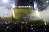 The Bath Rugby team run onto the field. Anglo-Welsh Cup Semi Final, between Bath Rugby and Northampton Saints on March 9, 2018 at the Recreation Ground in Bath, England. Photo by: Patrick Khachfe / Onside Images