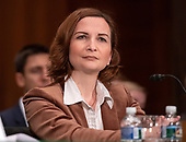 """Jelena McWilliams, Chairman, Federal Deposit Insurance Corporation (FDIC) testifies before the United States Senate Committee on Banking, Housing and Urban Affairs hearing titled """"Implementation of the Economic Growth, Regulatory Relief, and Consumer Protection Act"""" on Capitol Hill in Washington, DC on Tuesday, October 2, 2018.<br /> Credit: Ron Sachs / CNP"""