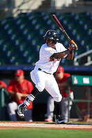 Jupiter Hammerheads center fielder Junior Sosa (4) at bat during a game against the Palm Beach Cardinals on August 13, 2016 at Roger Dean Stadium in Jupiter, Florida.  Jupiter defeated Palm Beach 6-2.  (Mike Janes/Four Seam Images)