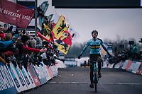 a super happy Michael Vanthourenhout (BEL/Marlux-Bingoal) crossing the finish line in 2nd place<br /> <br /> Elite Men's Race<br /> UCI CX Worlds 2018<br /> Valkenburg - The Netherlands