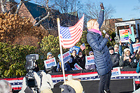 Democratic presidential candidate and Massachusetts senator Elizabeth Warren speaks to supporters at a short rally after she filed paperwork to get on the primary ballot at the NH State House in Concord, New Hampshire, on Wed., November 13, 2019.