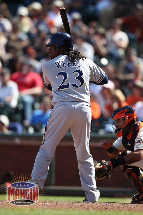 SAN FRANCISCO, CA - MAY 5:  Rickie Weeks #23 of the Milwaukee Brewers bats against the San Francisco Giants during the game at AT&T Park on Saturday, May 5, 2012 in San Francisco, California. Photo by Brad Mangin