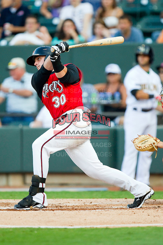 Carolina League All-Star Jeremie Tice #30 of the Carolina Mudcats follows through on his swing against the California League All-Stars during the 2012 California-Carolina League All-Star Game at BB&T Ballpark on June 19, 2012 in Winston-Salem, North Carolina.  The Carolina League defeated the California League 9-1.  (Brian Westerholt/Four Seam Images)