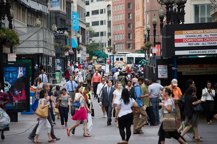 Downtown Crossing is a pedestrian-only zone featuring shopping and theaters in Boston, Massachusetts, USA.