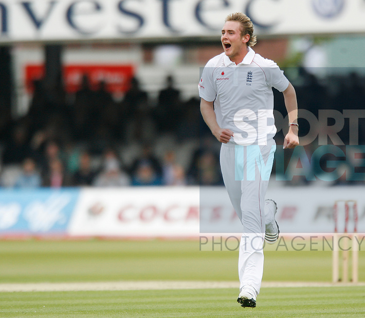 England's Stuart Broad celebrates bowling Chris Gayle for 28