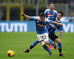 Diego Demme of Napoli holds off Stefano Sensi of Inter during the Coppa Italia match at Giuseppe Meazza, Milan. Picture date: 12th February 2020. Picture credit should read: Jonathan Moscrop/Sportimage