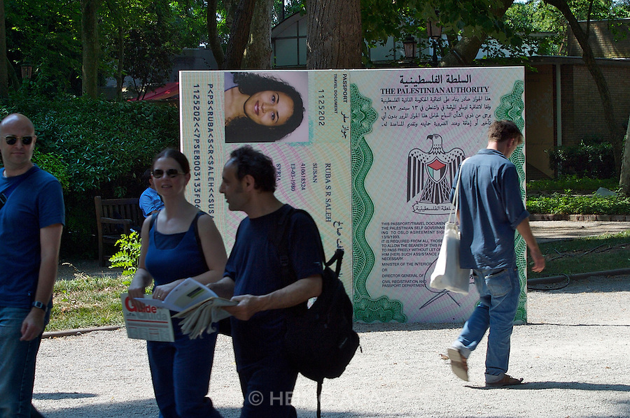 "VENICE, ITALY..50th Biennale of Venice.""Stateless Nation"" by Sandi Hilal and Alessandro Petti (Italy). Oversized copies of real Palestinians' passports, issued in their respective countries of exile or asylum..(Photo by Heimo Aga)"