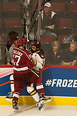 Sean Malone (Harvard - 17), Kyle Osterberg (UMD - 8) - The University of Minnesota Duluth Bulldogs defeated the Harvard University Crimson 2-1 in their Frozen Four semi-final on April 6, 2017, at the United Center in Chicago, Illinois.