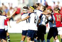 USA celebrates the first goal. USA 4,  Norway 0, Fredrikstad Stadium, July 2, 2008.
