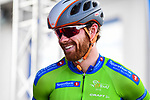 Collin Joyce (USA) Rally Cycling wearing the Green Jersey at sign on before the start of Stage 3 of the 2018 Artic Race of Norway, running 194km from Honningsvg to Hammerfest, Norway. 18th August 2018. <br /> <br /> Picture: ASO/Pauline Ballet | Cyclefile<br /> All photos usage must carry mandatory copyright credit (© Cyclefile | ASO/Pauline Ballet)